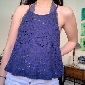 Navy lace halter top